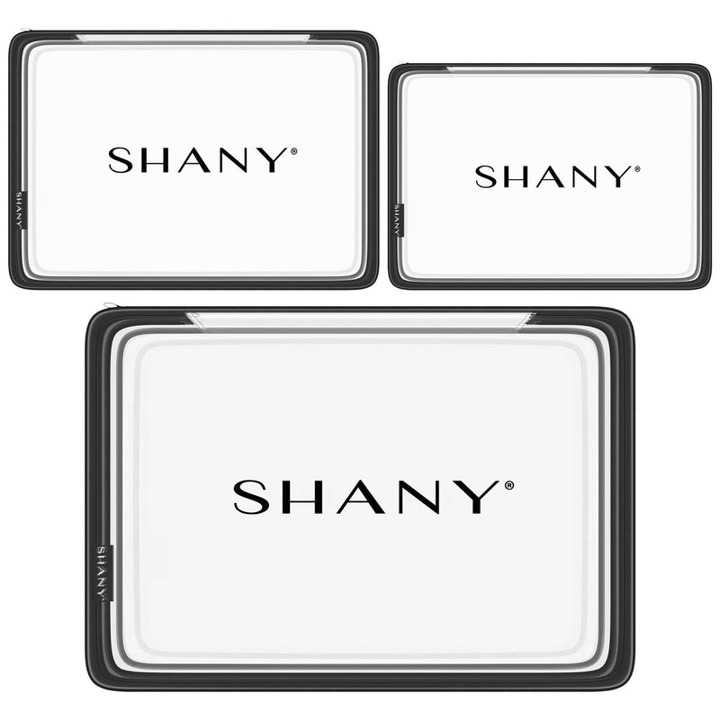 SHANY Travel Makeup Artist Organizer Set of 3 -  - ITEM# SH-PC15-BK - Clear travel makeup cosmetic bags carry Toiletry,PVC Cosmetic tote bag Organizer stadium clear bag,travel packing transparent space saver bags gift,Travel Carry On Airport Airline Compliant Bag,TSA approved Toiletries Cosmetic Pouch Makeup Bags - UPC# 700645941804