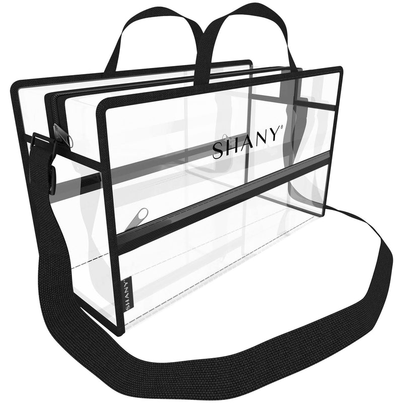 SHANY Clear PVC Water-Resistant Travel Tote Bag - Large See-Thru Bag with Adjustable Shoulder Straps and Zippered Pockets - SHOP  - TRAVEL BAGS - ITEM# SH-PC16-BK
