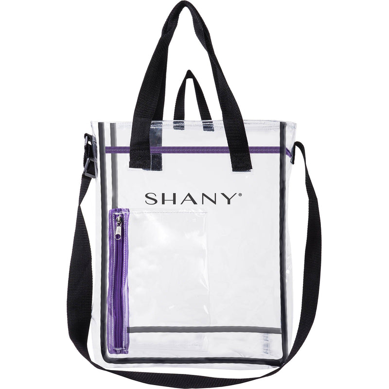 SHANY Clear Toiletry and Makeup Carry-On Travel Bag – Large Multiple Handle, Two-Tone Tote with Purple Front Zippered Pocket - SHOP  - TRAVEL BAGS - ITEM# SH-PC17-BK