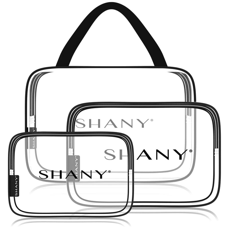 SHANY Clear PVC Toiletry and Makeup Carry-On Bag Set - Assorted Sizes Travel Cosmetic Organizers with Black Trim - 3PC Set - SHOP  - TRAVEL BAGS - ITEM# SH-PC22-BK