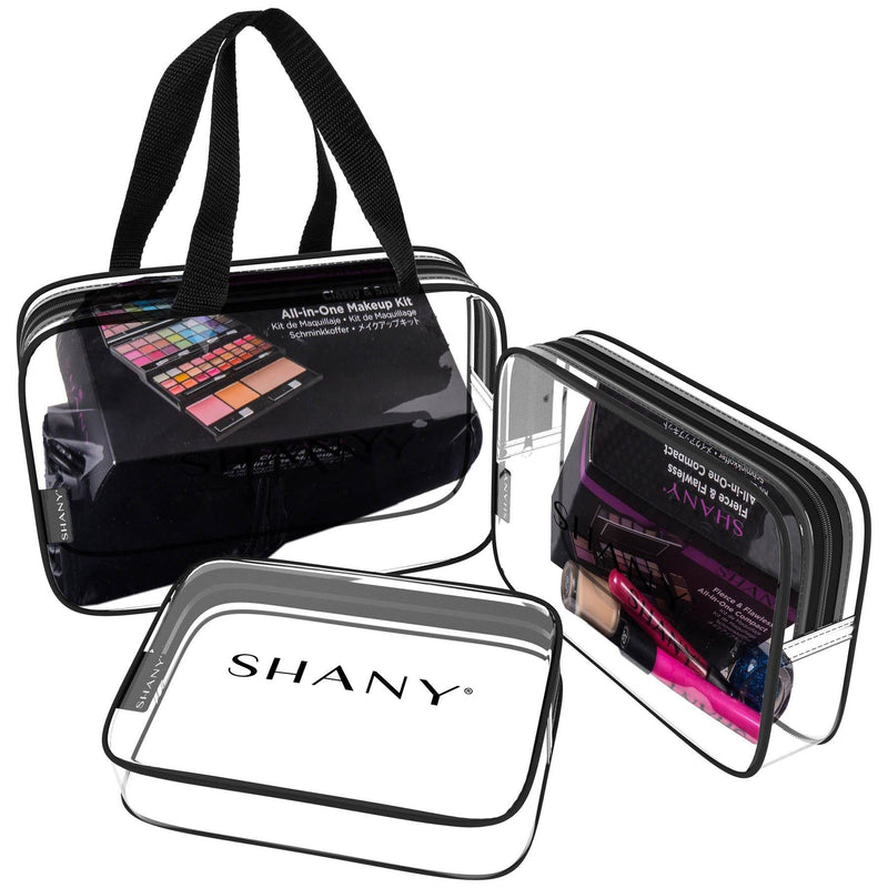 SHANY Clear Toiletry and Makeup Bag Set - 3PC -  - ITEM# SH-PC22-BK - Clear travel makeup cosmetic bags carry Toiletry,PVC Cosmetic tote bag Organizer stadium clear bag,travel packing transparent space saver bags gift,Travel Carry On Airport Airline Compliant Bag,TSA approved Toiletries Cosmetic Pouch Makeup Bags - UPC# 700645933885