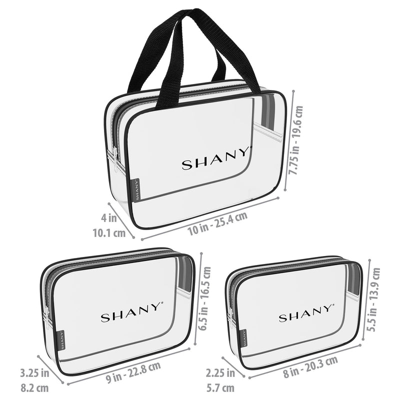 SHANY Clear Toiletry and Makeup Bag Set - 3PC -  - ITEM# SH-PC22-BK - Best seller in cosmetics TRAVEL BAGS category