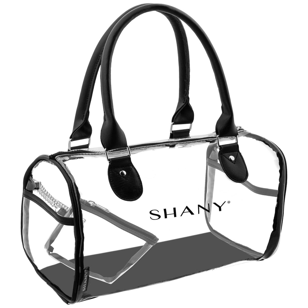 SHANY Clear Waterproof Carryall Handbag -  See-Thru PVC Tote Bag with Faux Leather Handles, Open Side Pockets and Detachable Cosmetic Bag - SHOP  - TRAVEL BAGS - ITEM# SH-PC25-BK