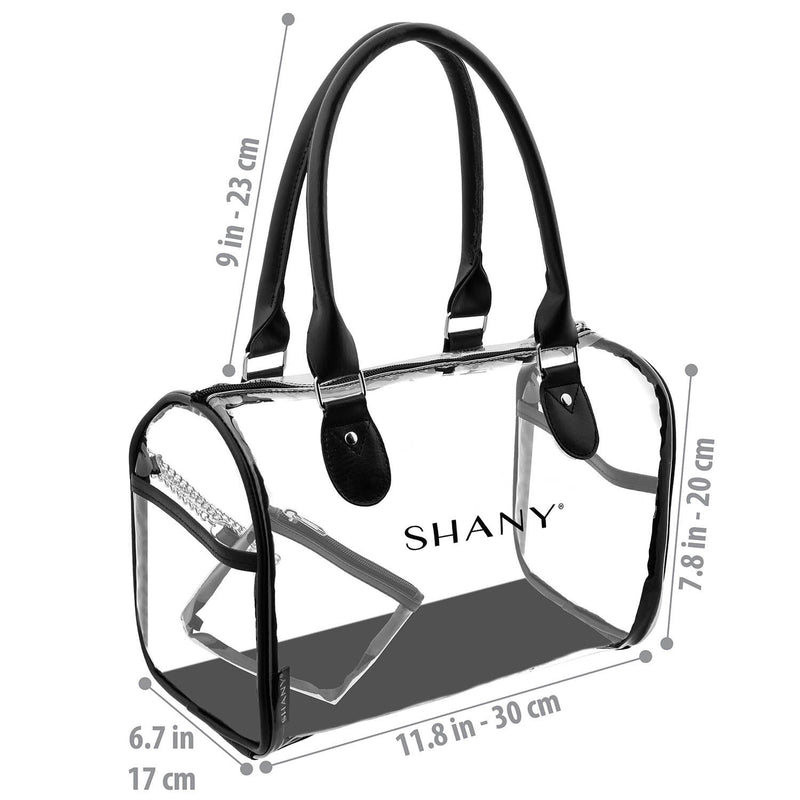 SHANY Clear Waterproof Carryall Handbag -  - ITEM# SH-PC25-BK - Clear travel makeup cosmetic bags carry Toiletry,PVC Cosmetic tote bag Organizer stadium clear bag,travel packing transparent space saver bags gift,Travel Carry On Airport Airline Compliant Bag,TSA approved Toiletries Cosmetic Pouch Makeup Bags - UPC# 700645933908