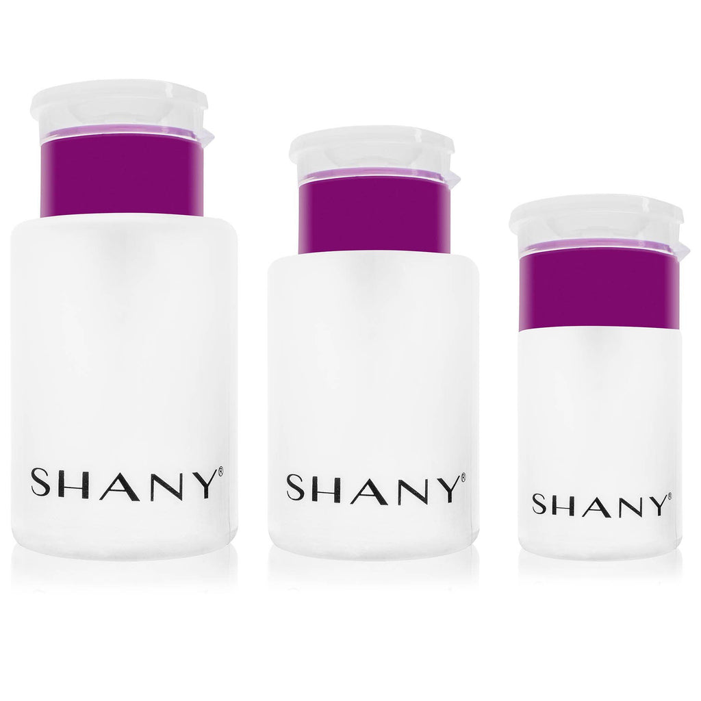 SHANY Push-Top Liquid Dispenser Set - Assorted Sizes Refillable Plastic Bottles with Snap Flip-Top Caps and Push-Down Pump - 3 PC - SHOP  - CONTAINERS - ITEM# SH-PLLT-PARENT