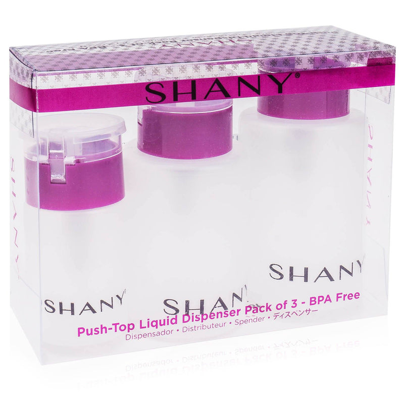 -  - ITEM# SH-PLLT-PARENT - The SHANY Push-Top Liquid Dispenser Set with Snap Flip Tops are convenient and will help declutter your beauty space. The push-top dispenser makes it easy to use your liquid of choice. Simply apply a cotton pad, ball or swab to the middle of the pump and press down. This set comes with thr