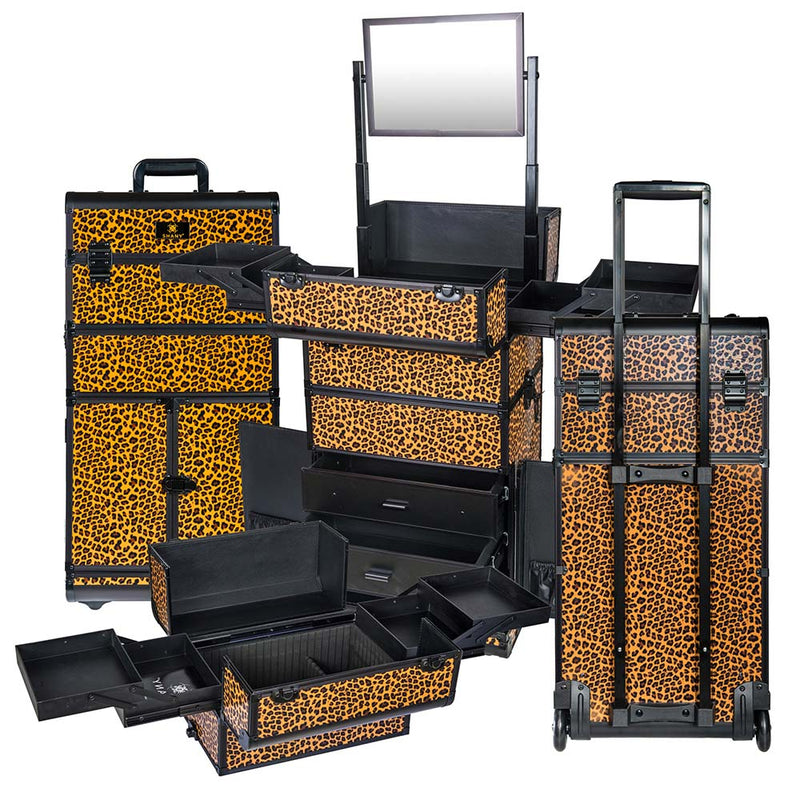 SHANY REBEL Series Pro Makeup Artists Rolling Train Case Trolley Case Lepard - BROWN - ITEM# SH-REBEL-LP - SHANY cases are known to be incredibly useful and incredibly trendy. The Rebel Collection is no exception. This case was developed with the feedback and suggestions from our #SHANYnation. This is made for profess