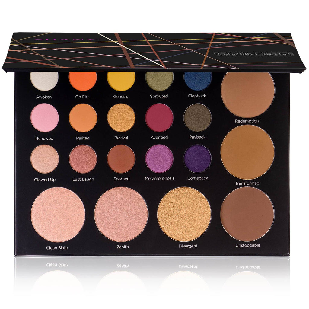 SHANY Revival Palette - 21-Color Eye & Cheek Palette with 15 Matte and Shimmer Eyeshadows, 3 Bronzers and 3 Highlighters - SHOP  - MAKEUP SETS - ITEM# SH-REVIVAL-PARENT