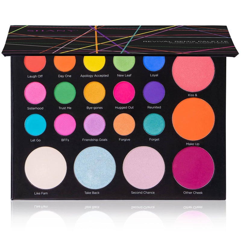 SHANY Revival Remix Palette - 21-Color Eye & Cheek Palette with 15 Matte and Shimmer Eyeshadows, 3 Highlighters and 3 Blushes - SHOP REMIX - MAKEUP SETS - ITEM# SH-REVIVAL-B