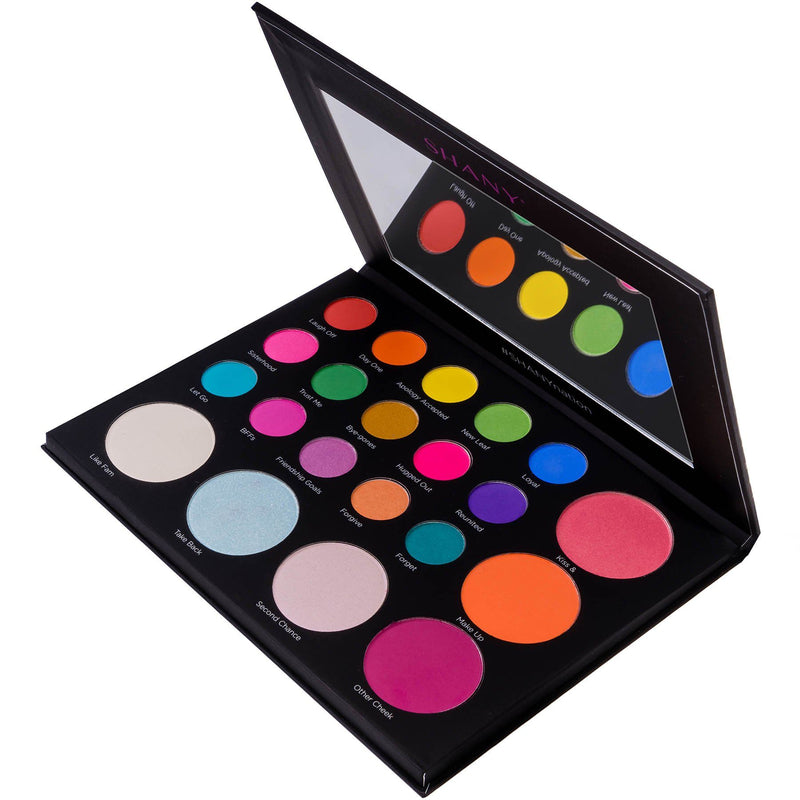 SHANY Revival Remix Eye & Cheek Palette with Eyeshadows, Highlights and Blush - REMIX - ITEM# SH-REVIVAL-B - The SHANY Revival Remix Palette is an eye and cheek palette that comes with 15 bold eyeshadows, 3 sparkling highlighters, and 3 adventurous blushes. Create a bold and beautiful eyeshadow makeup look with the br