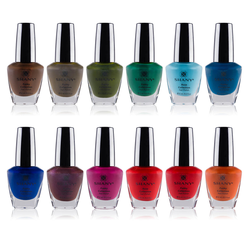 SHANY Cosmetics Nail Polish Set - 12 Bold and Quirky Shades in Gorgeous Semi Glossy and Shimmery Finishes - Funky Collection - SHOP FUNKY - NAIL POLISH - ITEM# SH-SHNN-2