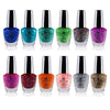 SHANY Cosmetics Nail Polish Set - 12 Twinkling Shades with Gorgeous Semi Glossy and Shimmery Finishes - Glitter Collection - SHOP GLITTER - NAIL POLISH - ITEM# SH-SHNN-4