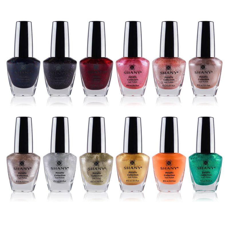 SHANY Cosmetics Nail Polish Set - 12 Futuristic Shades in Gorgeous Semi Glossy and Shimmery Finishes - Metallic Collection - SHOP METALLIC - NAIL POLISH - ITEM# SH-SHNN-5