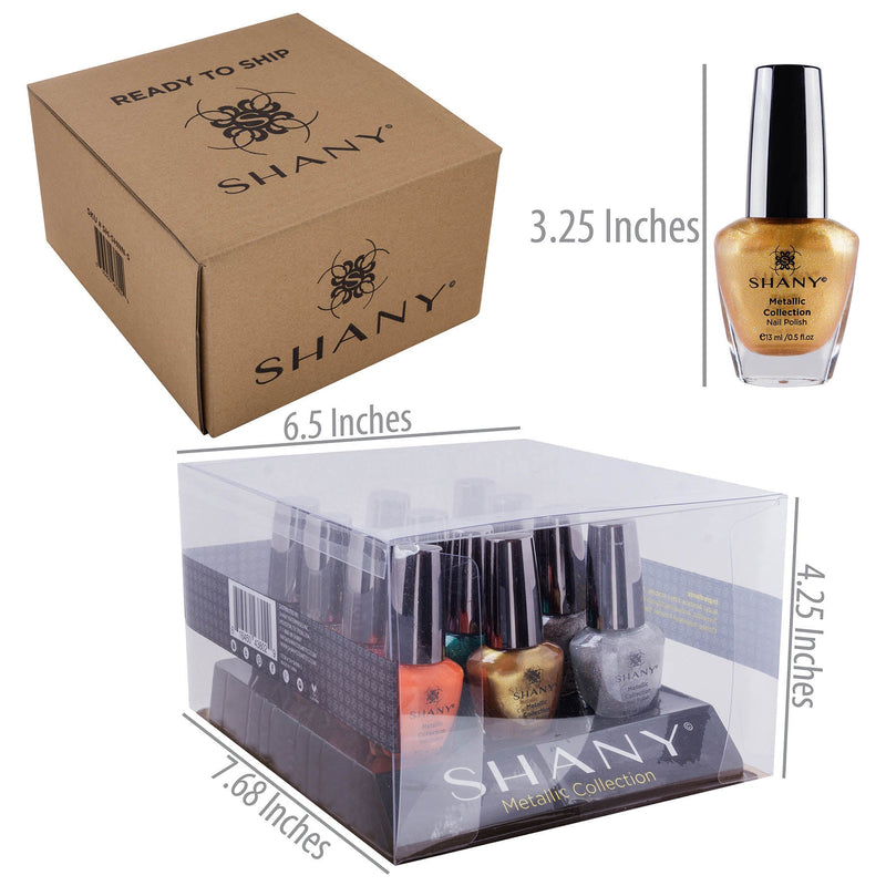 Nail Polish Set with 12 Semi Glossy and Shimmery Finishes