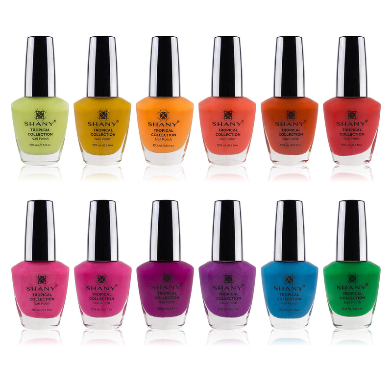 SHANY Tropical Collection Nail Polish Set - 12 Island-Inspired Shades with Gorgeous Semi-Glossy and Shimmer Finishes in Bright and Neon Colors - SHOP TROPICAL - NAIL POLISH - ITEM# SH-SHNN-7