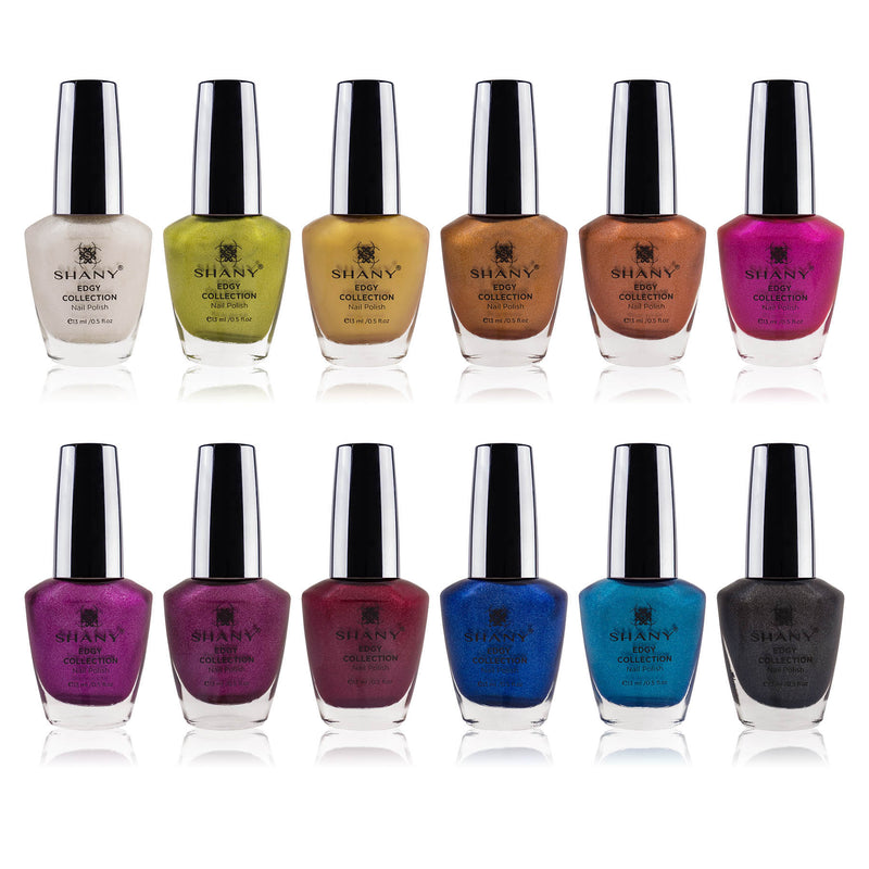 SHANY Edgy Collection Nail Polish Set - 12 Rebellious Shades with Gorgeous Metallic and Shimmer Finishes in Neutral and Bright Shades - SHOP EDGY - NAIL POLISH - ITEM# SH-SHNN-8