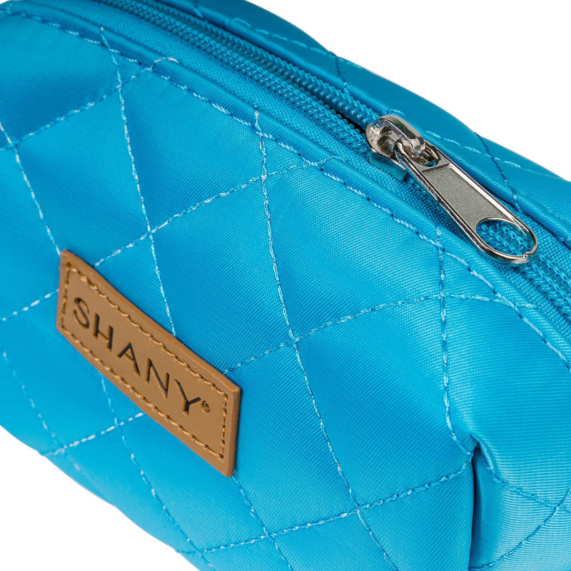 SHANY Limited Edition Mini Tote Bag and Travel Makeup Bag, Ocean Blue - BLUE - ITEM# SH-TOTEBAG-BL - Stay organized while traveling. This travel makeup bag is perfectly shaped to fit securely into your suitcase and purse. Made out of nylon with a zip-around top, this bag will hold your favorite beauty products and bat