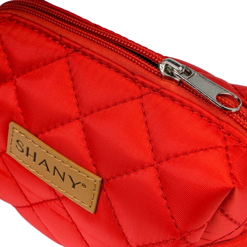 SHANY Limited Edition Mini Tote Bag and Travel Makeup Bag, Cherry Red - RED - ITEM# SH-TOTEBAG-RD - Stay organized while traveling. This travel makeup bag is perfectly shaped to fit securely into your suitcase and purse. Made out of nylon with a zip-around top, this bag will hold your favorite beauty products and bath