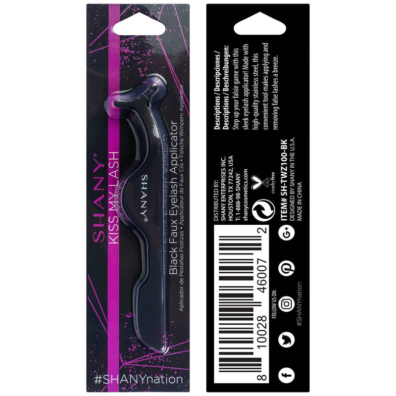 SHANY Kiss My Lash Faux Eyelash Applicator - Stainless Steel Tweezers - BLACK - BLACK - ITEM# SH-TWZ100-BK - The SHANY Kiss My Lash Faux Eyelash Applicator in BLACK is the perfect tool to help you apply, adjust and remove your favorite false lashes with ease. Save time and stress by applying lashes with this tool made