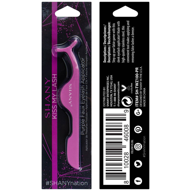 SHANY Kiss My Lash Faux Eyelash Applicator - Stainless Steel Tweezers - PURPLE - PURPLE - ITEM# SH-TWZ100-PR - The SHANY Kiss My Lash Faux Eyelash Applicator in PURPLE is the perfect tool to help you apply, adjust and remove your favorite false lashes with ease. Save time and stress by applying lashes with this tool m
