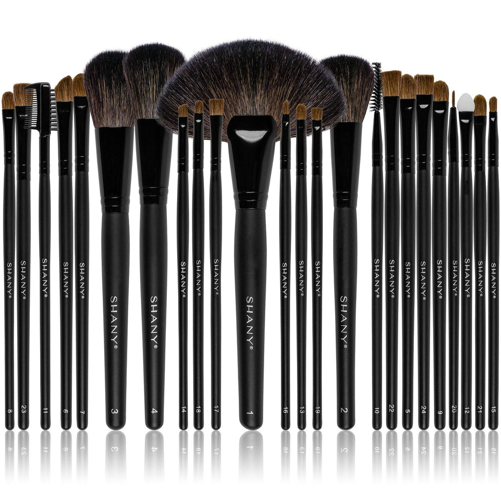 SHANY Studio Quality Natural Cosmetic Brush Set with Leather Pouch, 24 Count - SHOP  - BRUSH SETS - ITEM# SH0024-BR