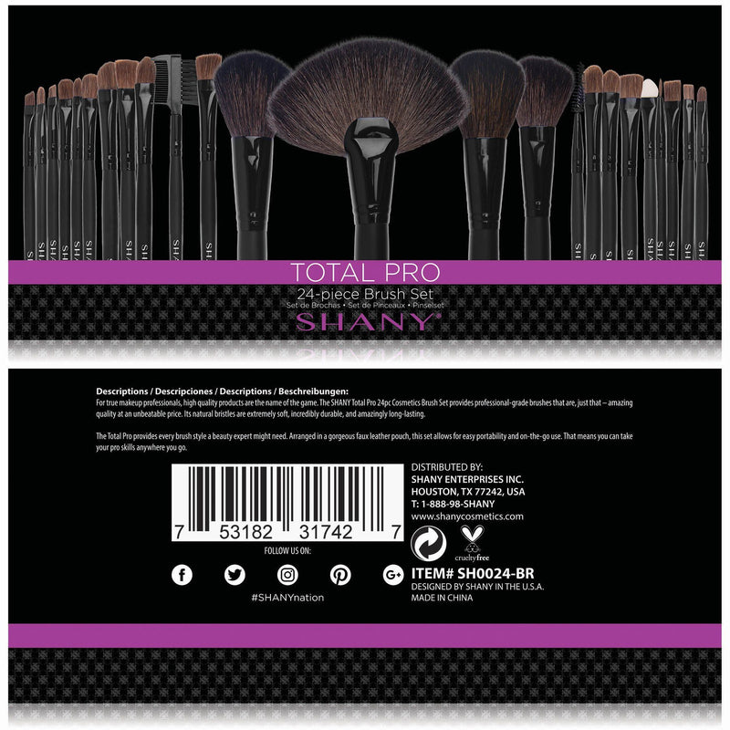 SHANY Studio Quality Natural Cosmetic Brush Set with Leather Pouch, 24 Count -  - ITEM# SH0024-BR - The SHANY Studio-Quality Natural Cosmetic Brush Set with Leather Pouch (Set of 24 Brushes, Goat and Badger Hair) provides professional-grade tools for all of your makeup applications. Made from natural animal hair, this