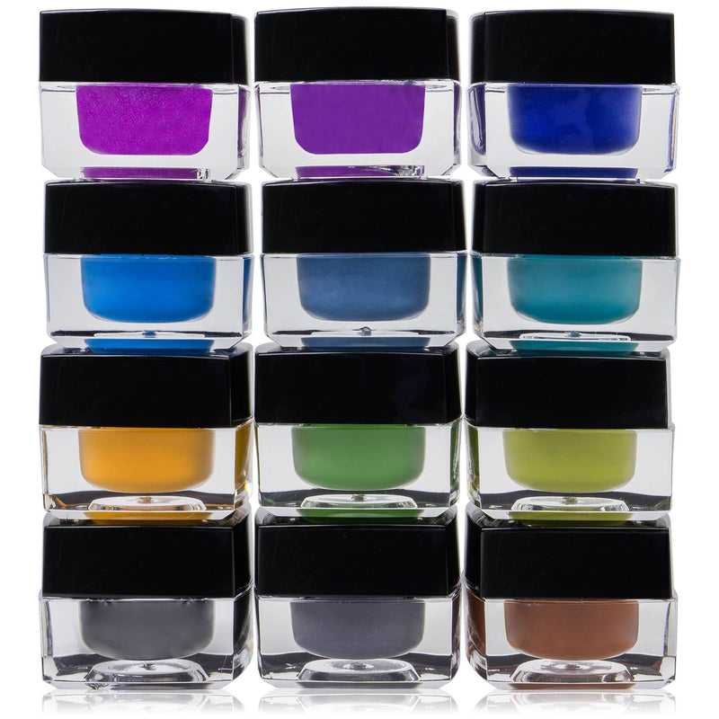 SHANY Smudge Proof Gel liner Set - Set of 12 Colors - Masquerade -  - ITEM# SH00GEL-SET01 - SHANY Gel Eyeliner Set comes with 12 different colored gel eyeliners in individual containers. Each container is securely fastened with a screw-on lid and the jars can be taken separately in a group, so you can travel as lightl