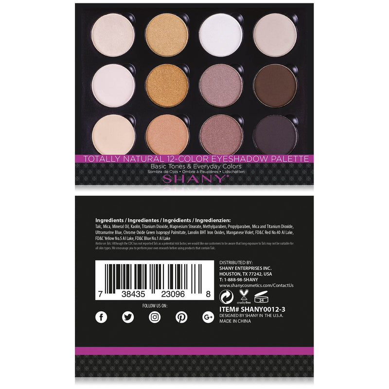 SHANY 12 Colors Eye Shadow Palette - NATURAL - ITEM# SHANY0012-3 - Multicolor eye makeup palettes glitter eyeshadow,Cream color professional women salon accessories,Maybelline morphe mac nyx revlon loreal elf milani,Cosmetics casual party powder smoky matte shimmer,Wedding dark blending natural hypoallergenic cheap - UPC# 738435230968