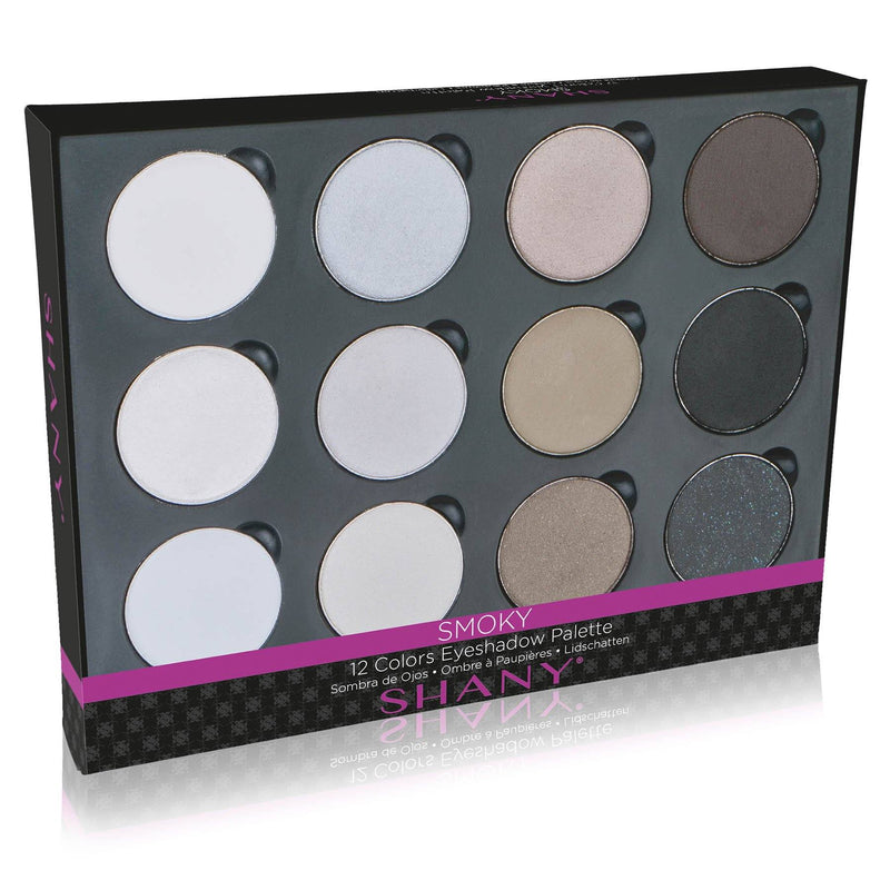 SHANY 12 Color Smoky Palette Eyeshadow Full Size - SMOKY - ITEM# SHANY0012 - Whether you want to create a fun, Smokey look for a holiday party or a sultry look for date night, the Smokey Eyes Palette has shades for the occasion in one convenient kit. Darker hues, like browns and blacks, and light shades, like silver a