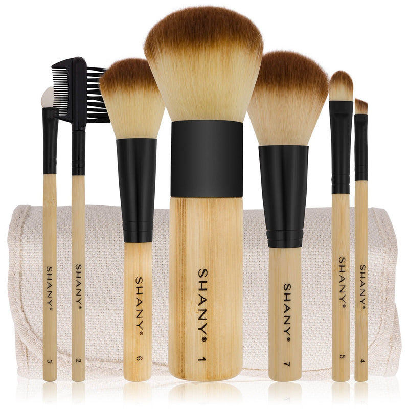 SHANY Bamboo Brush Set - Vegan Brushes With Premium Synthetic Hair & Cotton Pouch - 7pc - SHOP  - BRUSH SETS - ITEM# SHANY007-BM