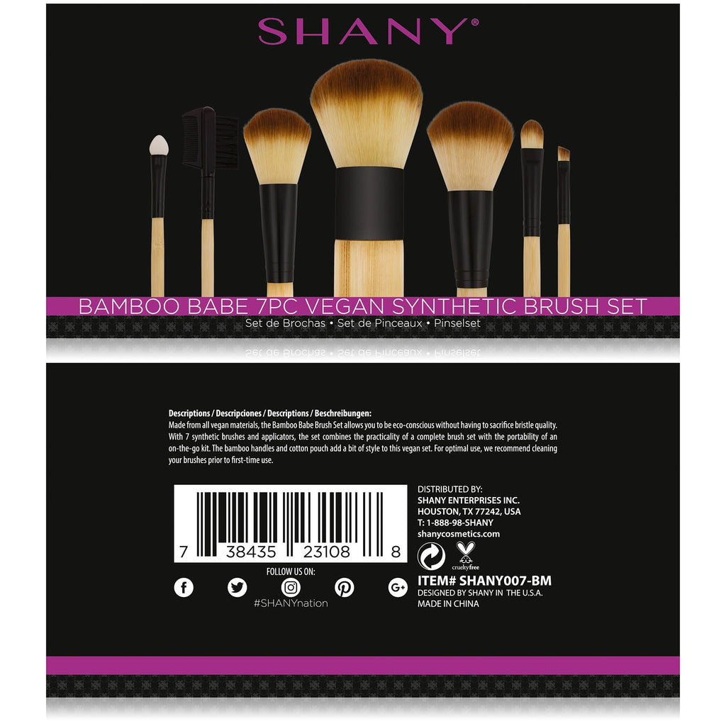 SHANY Bamboo Brush Set - Vegan Brushes -  - ITEM# SHANY007-BM - makeup contour brush set kit women airbrush eye,face essential cosmetics case eyeshadow eyeliner,foundation blending blusher lip powder liquid bag,highlighter holder synthetic urban decay cream,ecotools professional mermaid elf vanity morphe - UPC# 738435231088