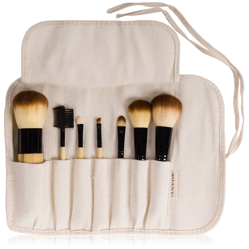 SHANY Pure Bamboo Brush Set - Vegan Brushes With Premium Synthetic Hair &  Pouch -  - ITEM# SHANY007-BM - Made from all vegan materials, these high-quality brushes allow anyone to be effortlessly eco-conscious without sacrificing a flawless face. This special brush set was designed for the special girls with sensitive
