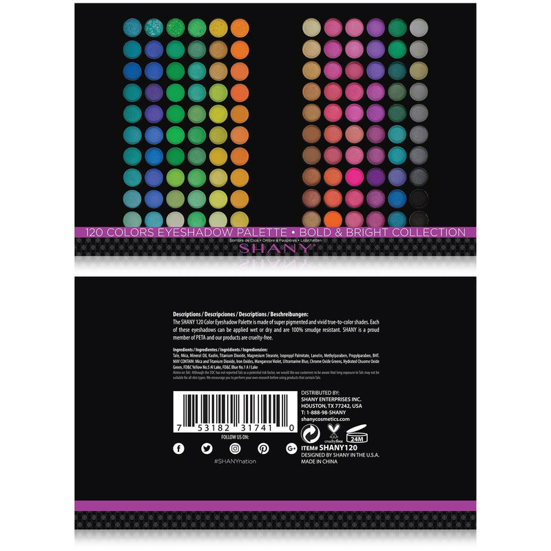 SHANY 120 Colors Eye shadow Palette, Bold and Bright Collection, Vivid -  - ITEM# SHANY120 - The SHANY Bold and Bright Collection Vivid Eye Shadow Palette (Set of 120 Colors) offers a complete assortment of eye shadows to suit both casual, formal attire and any hairstyle. Including essential shades and trendy colors,