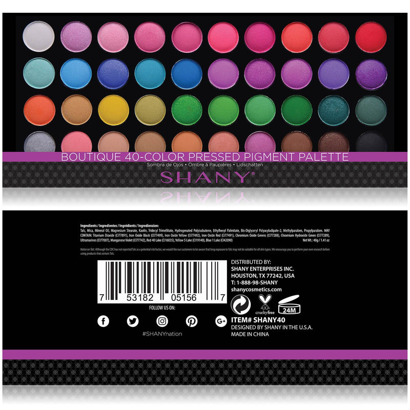 SHANY Boutique 40 color Eyeshadow palette Assorted Eye shades Travel Makeup Set -  - ITEM# SHANY40 - The SHANY Boutique Eye shadow Palette (Set of 40 Colors) offers a select assortment of key shades for both day and night. Individually hand-assembled, the 1/2-inch round eye shadow pan is neatly packaged in a slender c