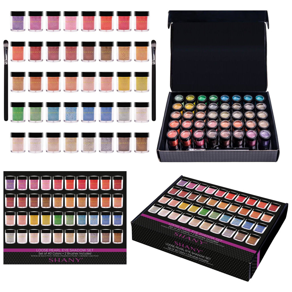 SHANY Loose Pearl Eye Shadow - Set of 40 -  - ITEM# SHANY40LP - Multicolor eye makeup palettes glitter eyeshadow,Cream color professional women salon accessories,Makeup set, kids makeup, teen makeup, unicorn set,Make up kit, makeup palette, mermaid makeup set,holiday gift cosmetics box train case gift set kit - UPC# 738435231033