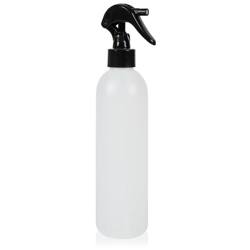 SHANY Plastic Bottle with Black Mini Trigger Sprayer - 8OZ - SHOP 8 OZ - CONTAINERS - ITEM# SHG-PLTR8OZ-WH
