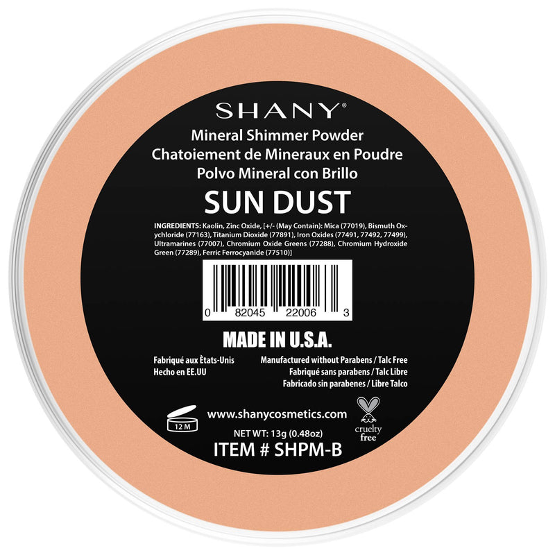 SHANY Mineral Shimmer Powder - Paraben Free/Talc Free - SUN DUST - SUN DUST - ITEM# SHPM-B - This shimmer powder is made of 100% minerals and contains no paraben or talc! It's perfect for all skin tones and you'll feel like you're wearing nothing at all! Coverage ranges from sheer to medium depending on application. -
