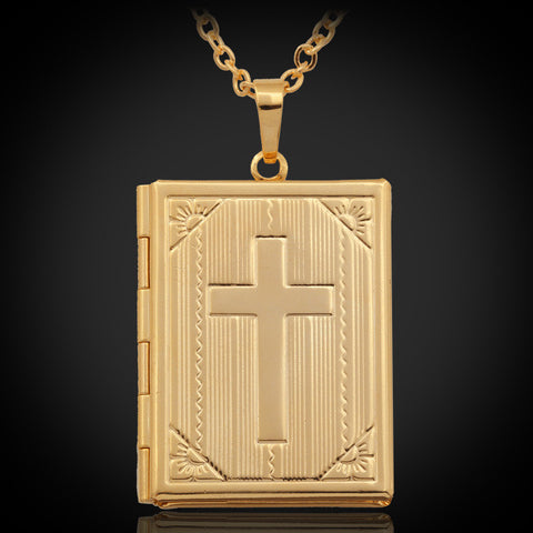Christian - 18K Gold/Platinum Plated Pendant Necklace Locket