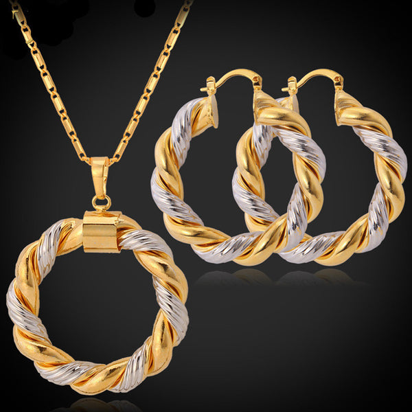 Unique Design Platinum/18K Real Gold Plated Jewelry Set