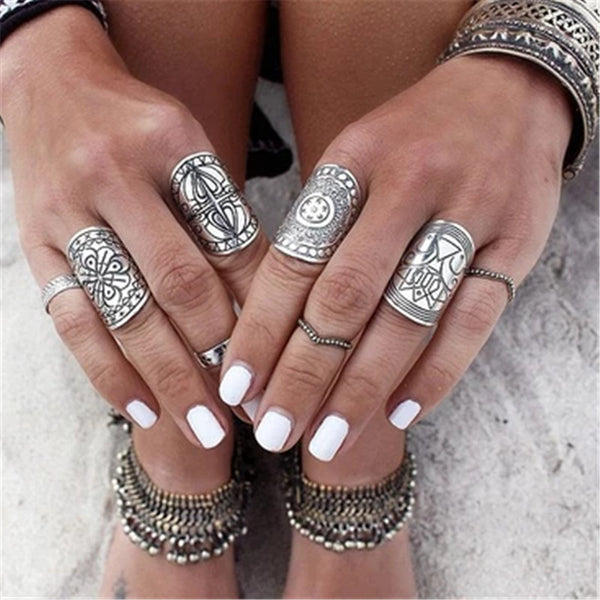 4 Pieces Wide Tibetan Silver Plated Rings Set