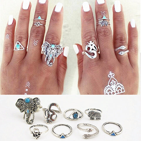 8 Pieces Bohemian Ring Set