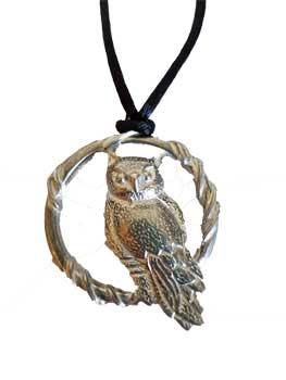 Owl In Circle Amulet