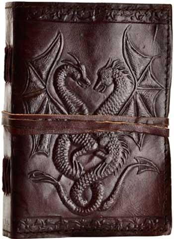 Double Dragon Leather Blank Book W- Cord