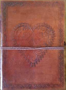 "5"" X 7"" Heart Leather Blank Book W-cord"