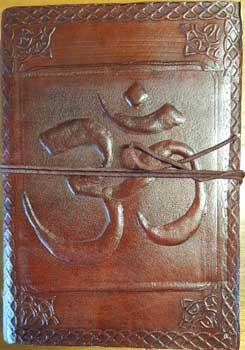 "5"" X 7"" Om Leather Blank Book W- Cord"