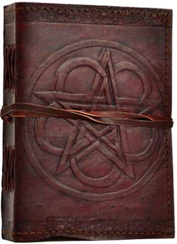 Pentagram Leather Blank Book W- Cord