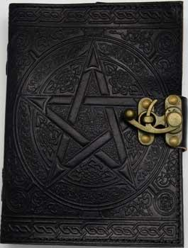 "5"" X 7"" Black Pentagram Leather W- Latch"