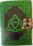 Black- Green Triquetra Leather Blank Book W- Latch