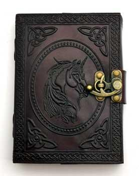 Unicorn Leather Blank Book W- Latch