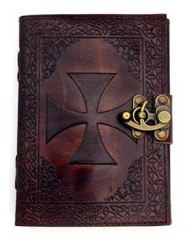 Knights Templar Leather Blank Book W- Latch